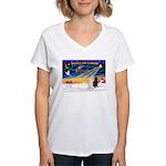 XmasSunrise/2 Std Poodles Women's V-Neck T-Shirt