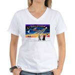 XmasSunrise/3 Std Poodles Women's V-Neck T-Shirt