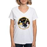 Night Flight/Pug (black) Women's V-Neck T-Shirt