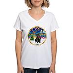 Xmas Musc 3/Cavalier Women's V-Neck T-Shirt