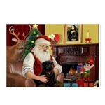 Santa's Black Pug Postcards (Package of 8)