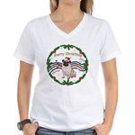 XmasMusic1MC/Pug 11 Women's V-Neck T-Shirt