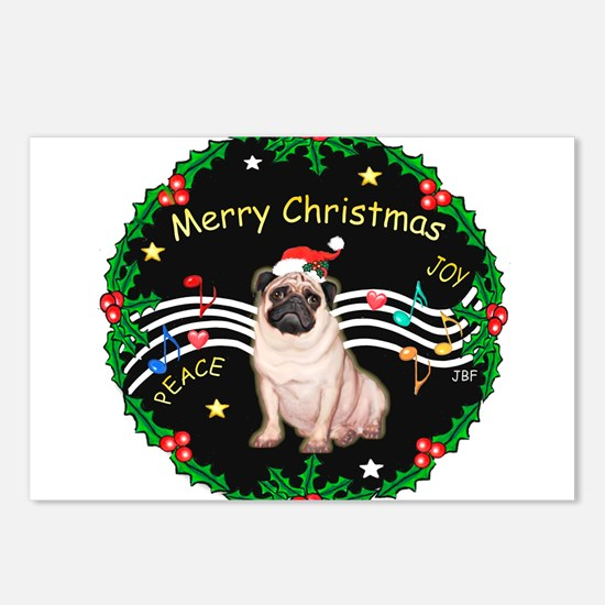 XmasMusic2MC/ Pug 11 Postcards (Package of 8)