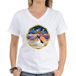 XmasStar/Rat Terrier Women's V-Neck T-Shirt