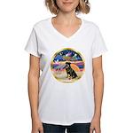 XmasStar/Rottie #3 Women's V-Neck T-Shirt