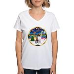 XmasMusic 3/ St Bernard #1 Women's V-Neck T-Shirt