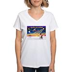 XmasSunrise/St Bernard Women's V-Neck T-Shirt