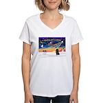 XmasSunrise/Schipperke Women's V-Neck T-Shirt