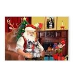 Santa's 2 Schnauzers Postcards (Package of 8)