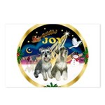 XSunrise+Santa-2 Schnauzers Postcards (Package of