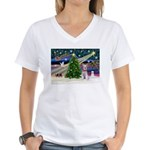 XmasMagic/Min Schnauzer Women's V-Neck T-Shirt