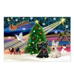 XmasMagic/2 Scottish Terriers Postcards (Package o