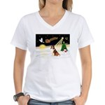 Night Flight/Sheltie Women's V-Neck T-Shirt