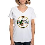XmasMusic3/Sheltie 7 Women's V-Neck T-Shirt