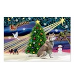 Xmas Magic & Red Husky Postcards (Package of 8)