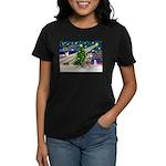 Xmas Magic & Red Husky Women's Dark T-Shirt