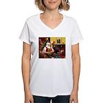 Santa's Silky Terrier Women's V-Neck T-Shirt