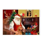 Santa's Vizsla Postcards (Package of 8)