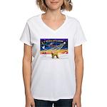XmasSunrise/Wheaten #2 Women's V-Neck T-Shirt