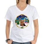 XmasMusic3/Yorkie #7 Women's V-Neck T-Shirt