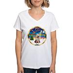 XmasMusic 3/Yorkie #2 Women's V-Neck T-Shirt