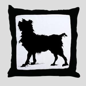 Scruffy Dog Silhouette Throw Pillow