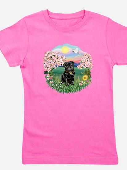 Blossoms- Black Pug 13.png Girl's Tee
