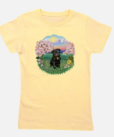 Blossoms- Black Pug 13.png Girl's Tee