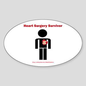 Heart Surgery Surviver Oval Sticker