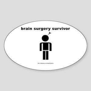 Brain Surgery Survivor Oval Sticker