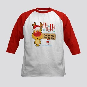 Santa Reindeer Custom Kids Baseball Jersey