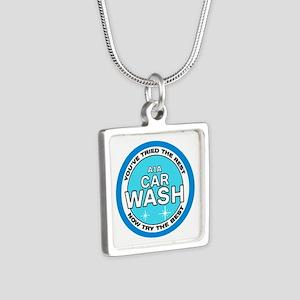A1A Car Wash Silver Square Necklace
