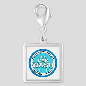 A1A Car Wash Silver Square Charm