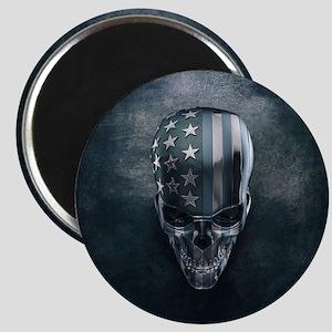American Flag Skull Magnet