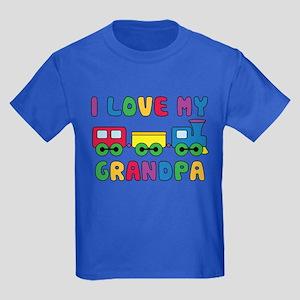 Love Grandpa Train Kids Dark T-Shirt