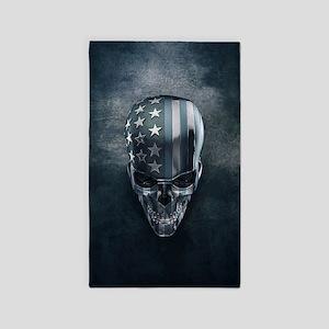American Flag Skull Area Rug