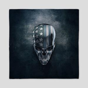 American Flag Skull Queen Duvet