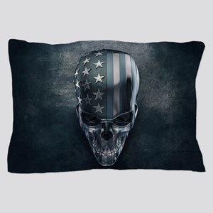 American Flag Skull Pillow Case