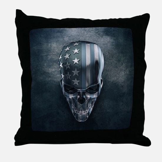 American Flag Skull Throw Pillow