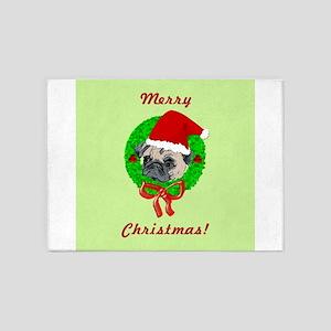 Merry Christmas Pug 5'x7'Area Rug