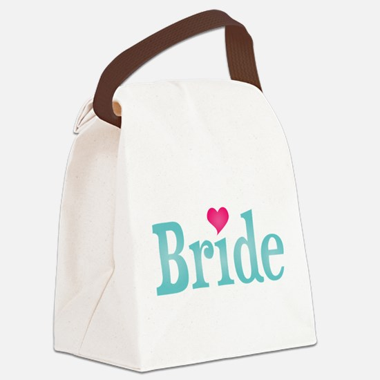 Bride Turquoise Pink Canvas Lunch Bag