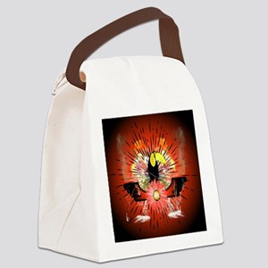 Cute parrot sitting on a branch Canvas Lunch Bag