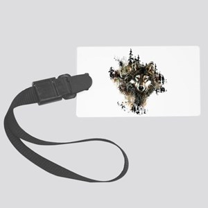 Watercolor Wolf Mountain Art Large Luggage Tag