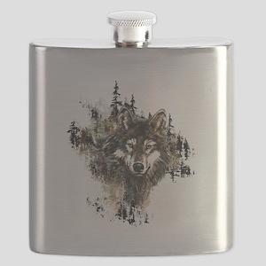 Watercolor Wolf Mountain Art Flask