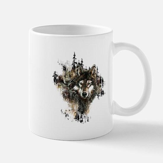 Watercolor Wolf Mountain Art Mugs