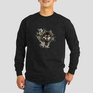 Watercolor Wolf Mountain Art Long Sleeve T-Shirt