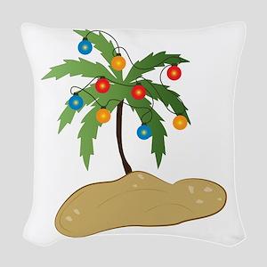 Tropical Christmas Woven Throw Pillow