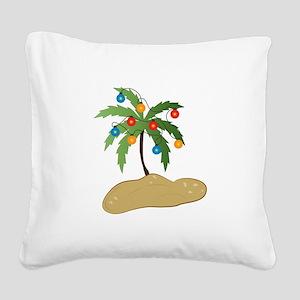 Tropical Christmas Square Canvas Pillow