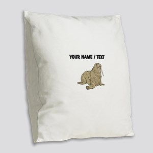 Custom Brown Walrus Burlap Throw Pillow