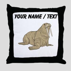 Custom Brown Walrus Throw Pillow